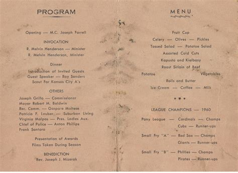 dinner program 1960 awards dinner program and menu the south plainfield