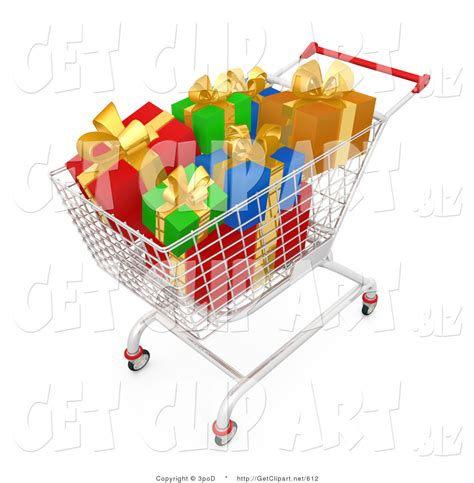 gift for shopping 3d clip of a shopping cart of wrapped