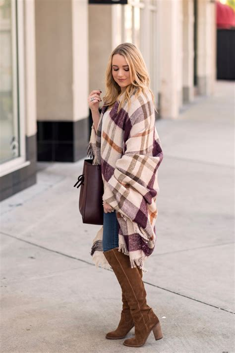 the most comfortable blanket thanksgiving outfit idea featuring a plaid blanket wrap