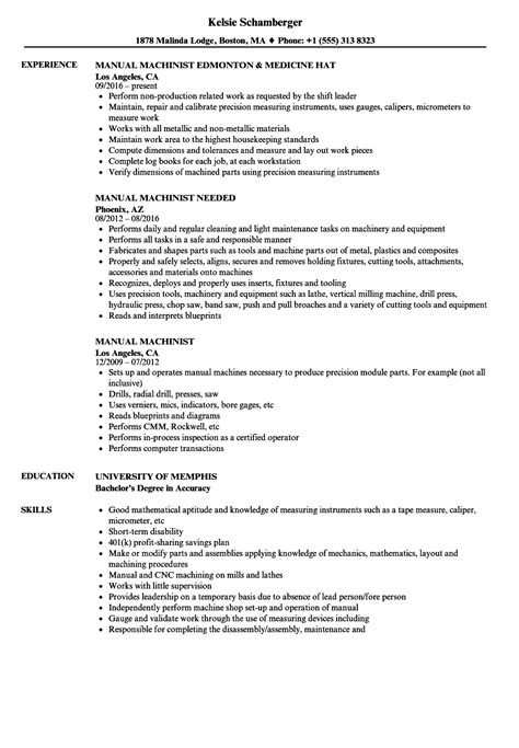 Machinist Resume by Manual Machinist Resume Sles Velvet