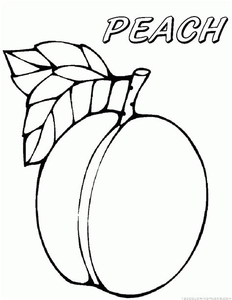 peach fruit coloring pages