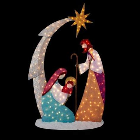 home depot christmas lawn decorations home accents holiday 6 ft pre lit tinsel nativity scene