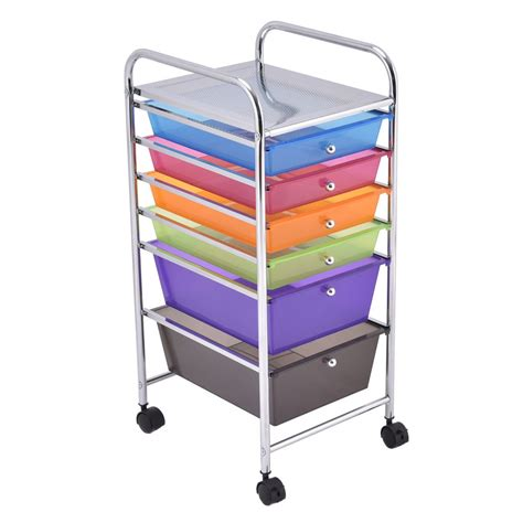 Small Storage Cart With Drawers 6 Drawers Rolling Storage Cart Tools Scrapbook Paper