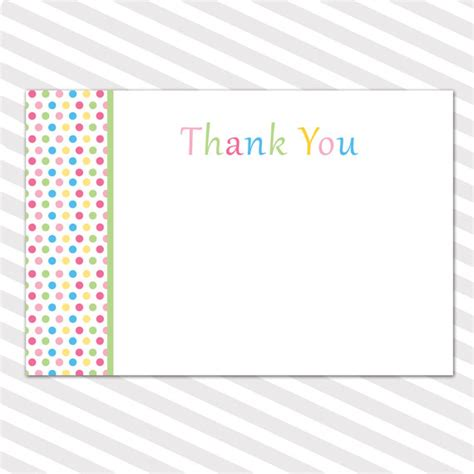 blank thank you card template baby shower blank thank you cards note polka dots boy