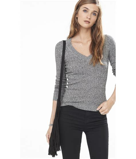 And Black Sweater lyst express marl ribbed fitted v neck sweater in gray