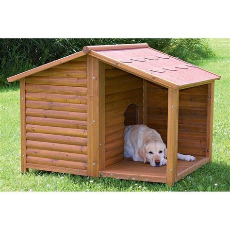 Large Outdoor All Weather Covered Porch Wood Cabin Hunting Dog Kennel Doghouse