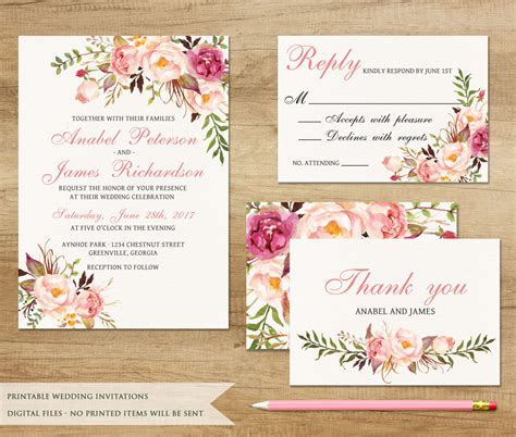 Floral Wedding Invitations by Floral Wedding Invitation Printable Wedding Invitation