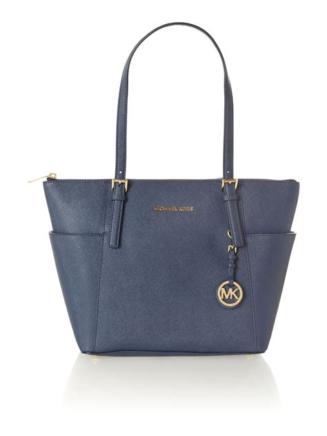 michael kors jet set item navy small tote bag in blue navy