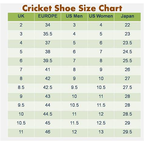 shoe size chart official shoe chart size