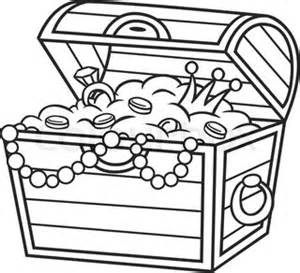 coloring book treasure chest full of gold and jewels