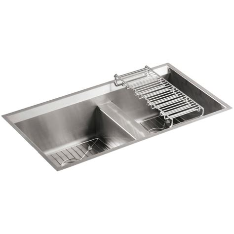 kohler stainless steel kitchen sinks kohler 8 degree undermount stainless steel 33 in double