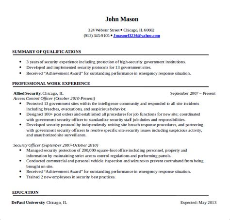 security resume template sle security resume 11 free documents in