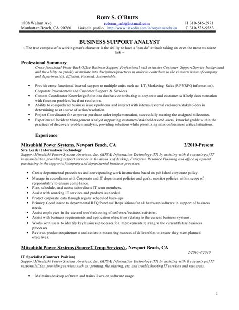Business Support Analyst by 2011 Cust Advocate Business Support Analyst