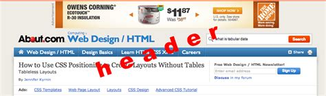 tableless layout using css tableless layouts using css