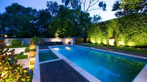 Living Ideas illuminated pool garden all scape