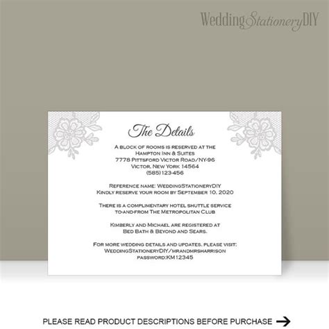 wedding information card template custom card template 187 reception card template free card