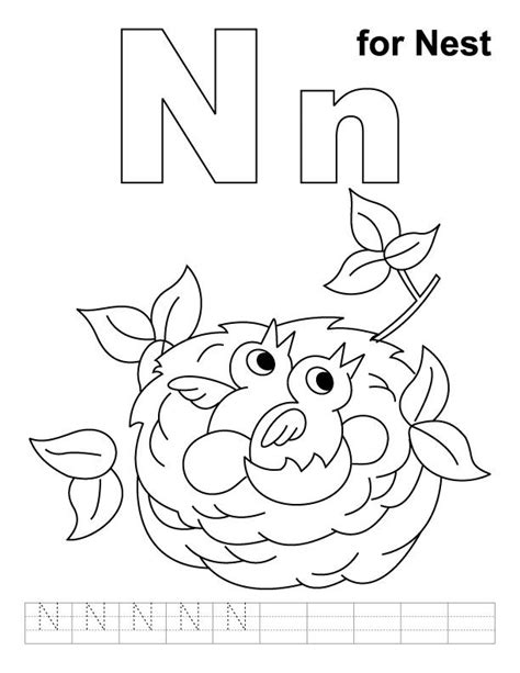 n words coloring page n for nest coloring page with handwriting practice