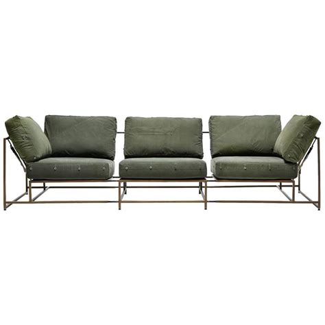 military sofa vintage military canvas and antique brass three piece sofa