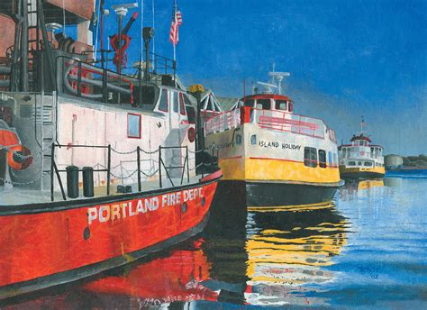 fireboat white fireboat and ferries painting by dominic white