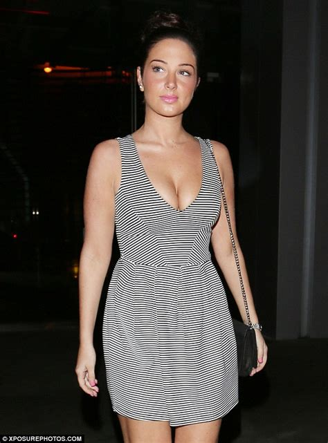 Blouse Cut Jj 07903503 tulisa does elegance as she wears low cut striped dress to dinner daily mail