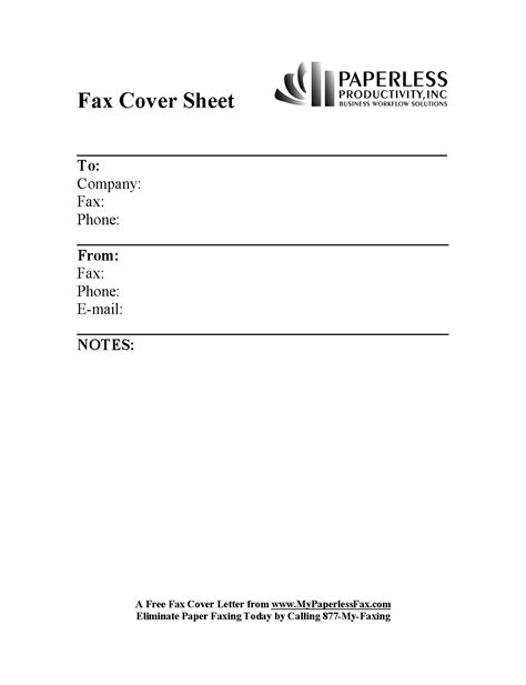 free sample fax cover sheets my paperless fax