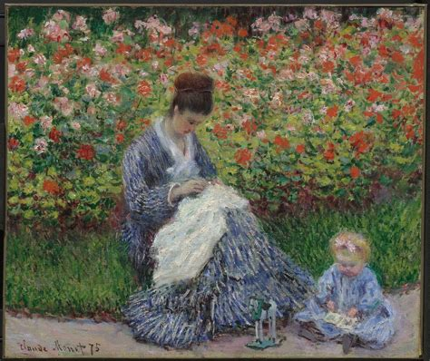 1419730223 french impressionist gardens calendar camille monet and a child in the artist s garden in