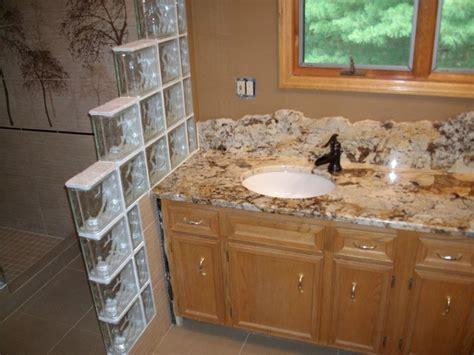 Glass Block Backsplash Delicatus Gold Granite The Edge For The