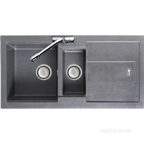 carron phoenix one and a half bowl granite graphite sink model stone grey bali kitchen sink reversible with drainer and