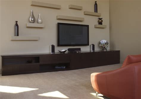 floating shelves for tv home theater contemporary with