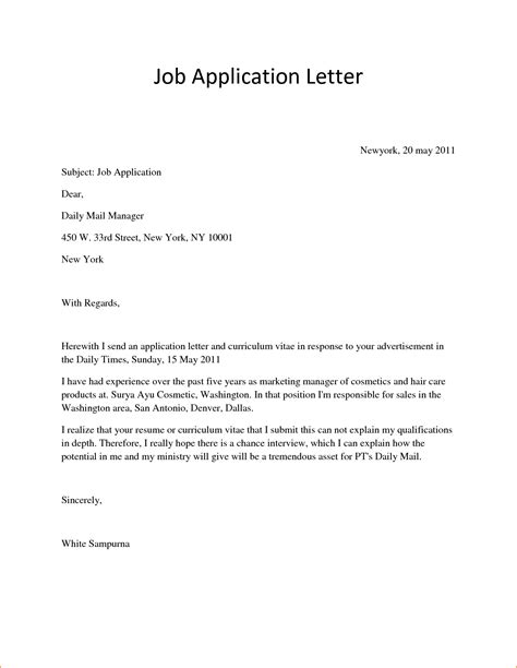 5 covering letter for applying job basic job appication