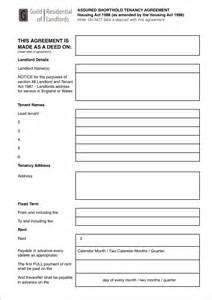 Shorthold Tenancy Agreement Template Free Download No Deposit Assured Shorthold Tenancy Agreement Grl