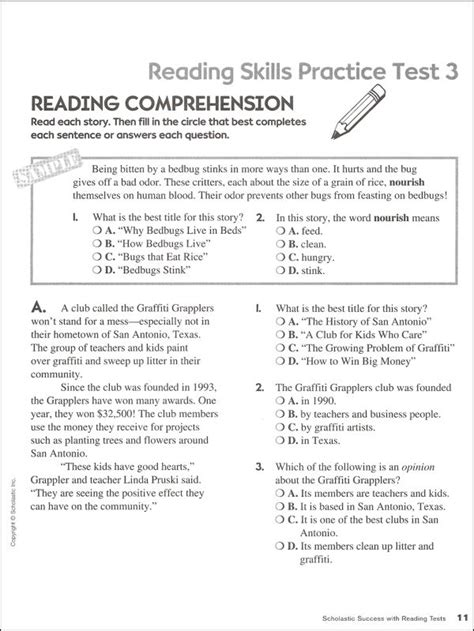 reading comprehension test business english reading tests grade 4 scholastic success wit 034004