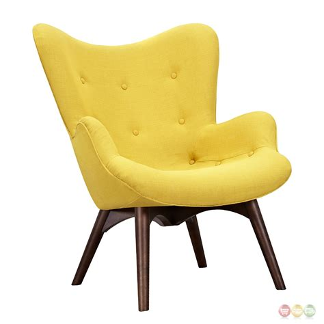 Yellow Modern Chair by Aiden Mid Century Modern Yellow Fabric Chair Ottoman In