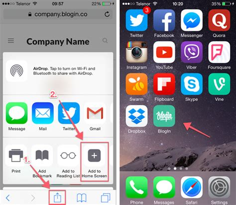 how to add blogin to the home screen of your smartphone or