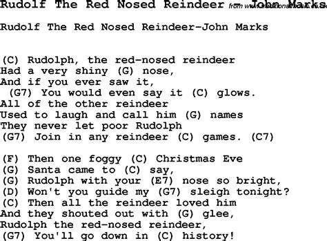 Rudolph The Nosed Reindeer Lyrics Like A Light Bulb by Song Rudolf The Nosed Reindeer By Marks With