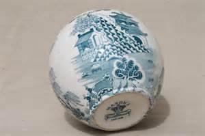 Pressed Glass Vase Vintage Mason S England Ironstone China Green Blue