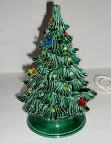 vintage christmas tree ceramic nowell 1977 mold lights birds