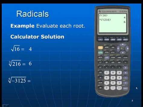 calculator radical radicals using the ti 83 84 youtube