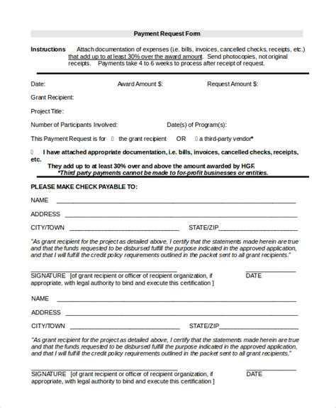 8 Sle Payment Forms Sle Templates Request For Payment Template
