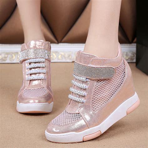 fashion mesh wedge diamonds high top sneaker sport