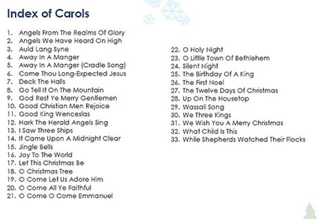 christmas carols list