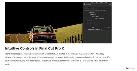 final cut pro news pixel film studios announced the release of transfreeze