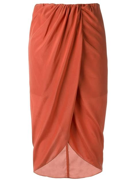 egrey high waisted midi skirt in brown lyst