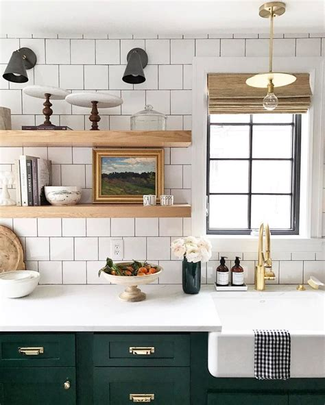 lower kitchen cabinets white tile open shelving farmhouse sink and green lower cabinets amazing kitchen