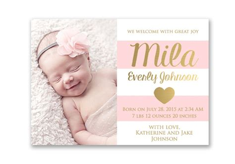 Baby Announcement Photo Card Templates Free by Pink And Gold Baby Birth Announcement Card Digital