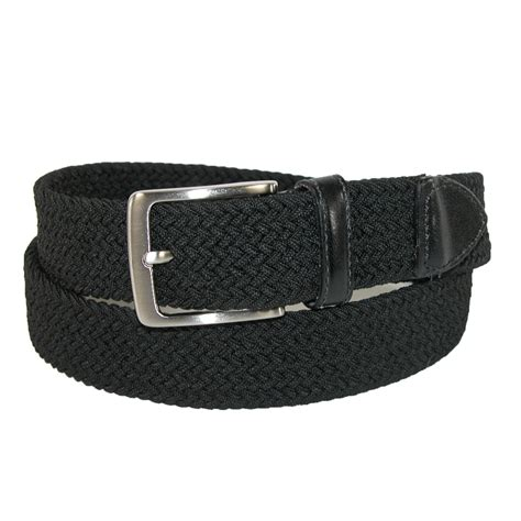 mens elastic braided stretch belt with leather tabs by