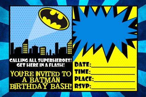 printable birthday invitations batman 7 best images of batman invitations free printables free