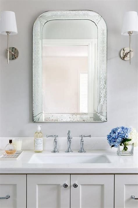 Venetian Mirror Bathroom Gray Mirror With White Sink Vanity Cottage Bathroom