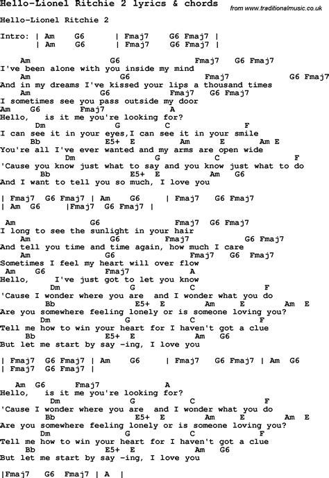 printable lyrics hello adele love song lyrics for hello lionel ritchie 2 with chords