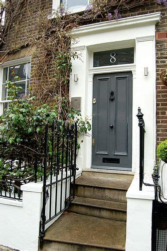 door accent colors for greenish gray glossy dark grey door red brick big white trim black